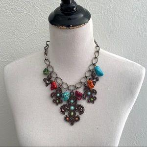 Chunky Turquoise Necklace Fleur de Lis Silver Tone